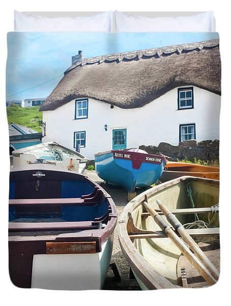 Tinker Taylor Cottage Sennen Cove Cornwall Duvet Cover by Terri Waters