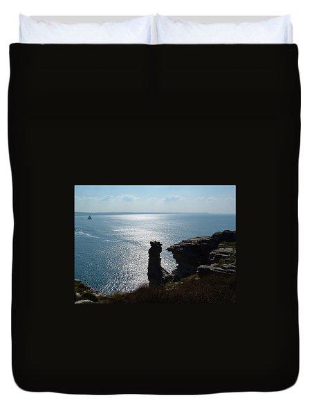 Tintagel Stack Cornwall Duvet Cover