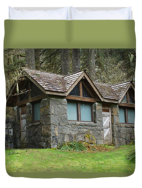 Tiny House In The Woods Duvet Cover by Angi Parks