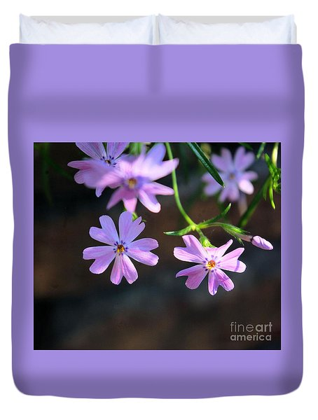 Duvet Cover featuring the photograph Tiny Pink Flowers by John S