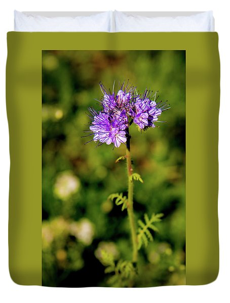 Duvet Cover featuring the photograph Tiny Puprle Flowers by Onyonet  Photo Studios