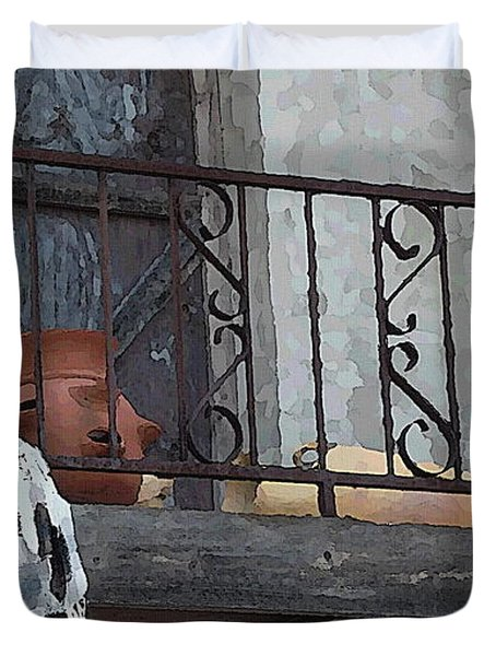 Duvet Cover featuring the digital art Tiny Southwest Balcony by Shelli Fitzpatrick