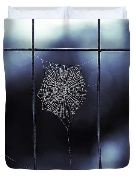 Tiny Spider Web In Blue Duvet Cover