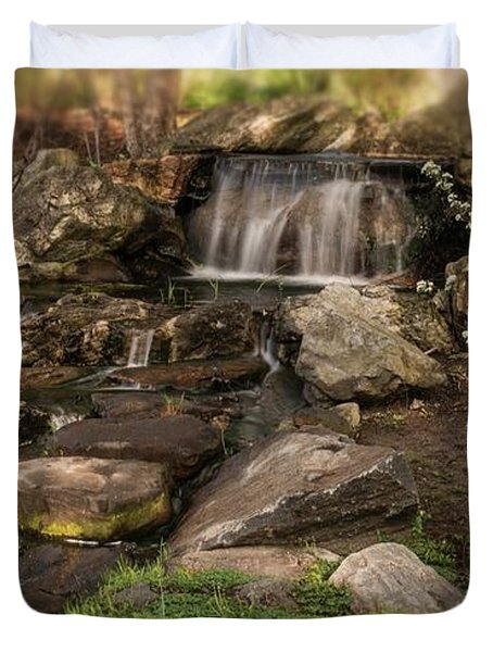 Duvet Cover featuring the photograph Tiny Stream by Angie Tirado