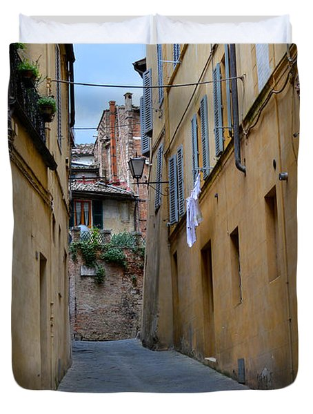 Tiny Street In Siena Duvet Cover