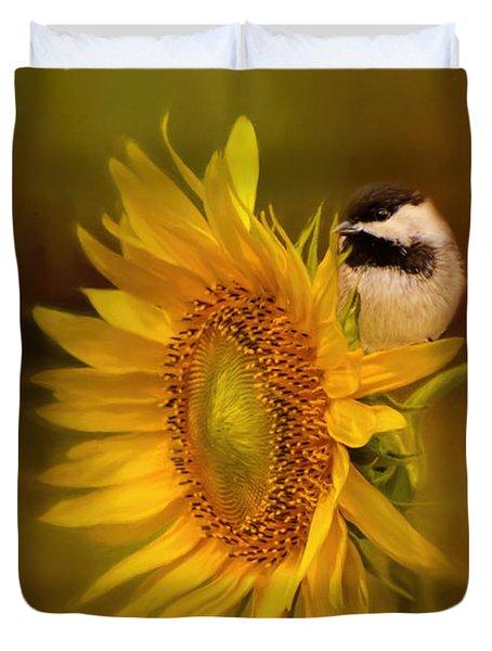 Tiny Surprise Bird Art Duvet Cover by Jai Johnson