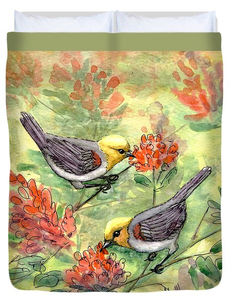 Duvet Cover featuring the painting Tiny Verdin In Honeysuckle by Marilyn Smith