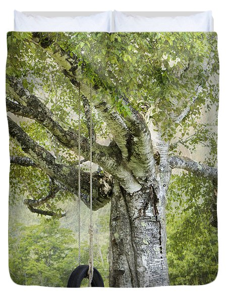 Tire Swing Hanging Off A White Birch Duvet Cover by Betty  Pauwels