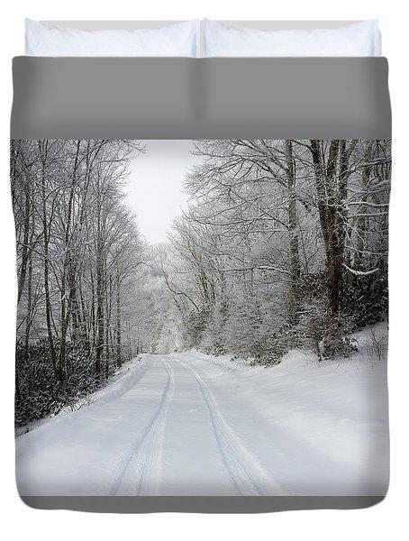 Tire Tracks In Fresh Snow Duvet Cover