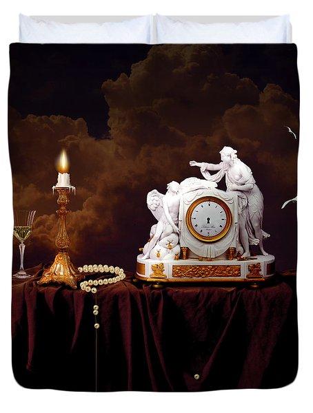 Duvet Cover featuring the digital art Tired Angels by Alexa Szlavics