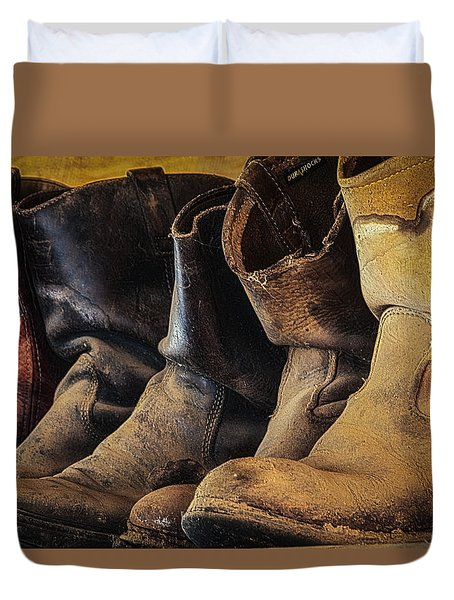 Tired Boots Duvet Cover by Laura Pratt