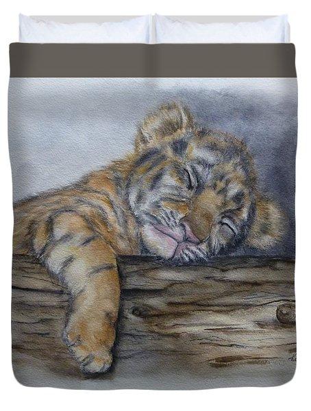 Tired Tiger Cub Duvet Cover