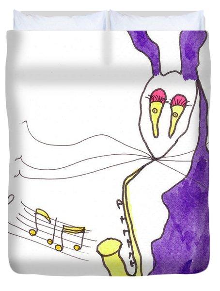 Tis Sax Lady Duvet Cover by Tis Art