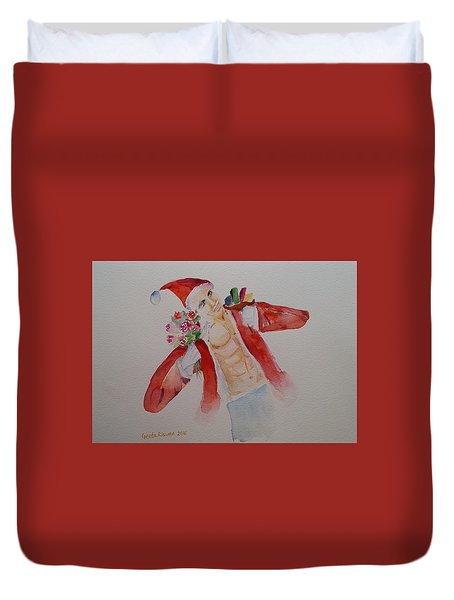 Duvet Cover featuring the painting 'tis The Season Watercolor Art by Geeta Biswas