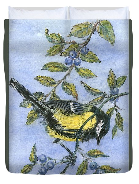 Tit In Blackthorn And Sloe Duvet Cover by Nell Hill