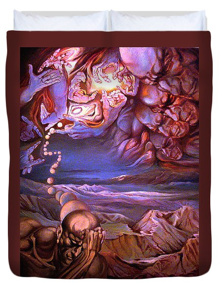 Titan In Desert Or Theft Of Intentions Duvet Cover by Mikhail Savchenko