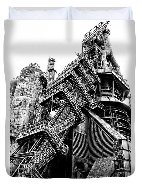 Titan Of Industry - Bethlehem Steel Mill In Black And White Duvet Cover by Bill Cannon