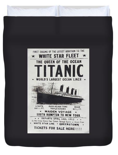 Duvet Cover featuring the photograph Titanic Vintage Poster by Melinda Saminski