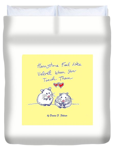 Duvet Cover featuring the drawing Title Page For Hamster Book by Denise Fulmer