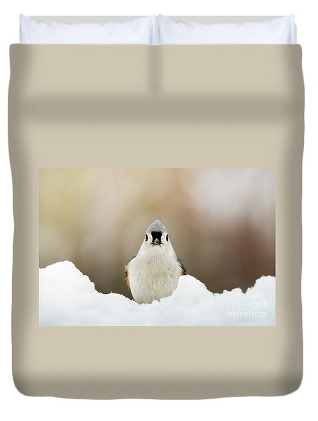 Tufted Titmouse In Snow Duvet Cover