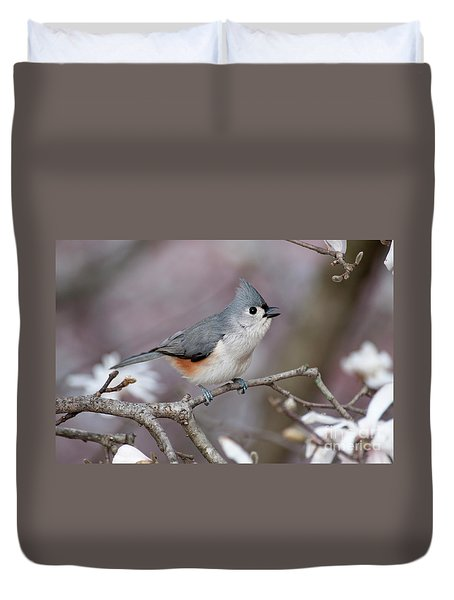Duvet Cover featuring the photograph Titmouse Song - D010023 by Daniel Dempster