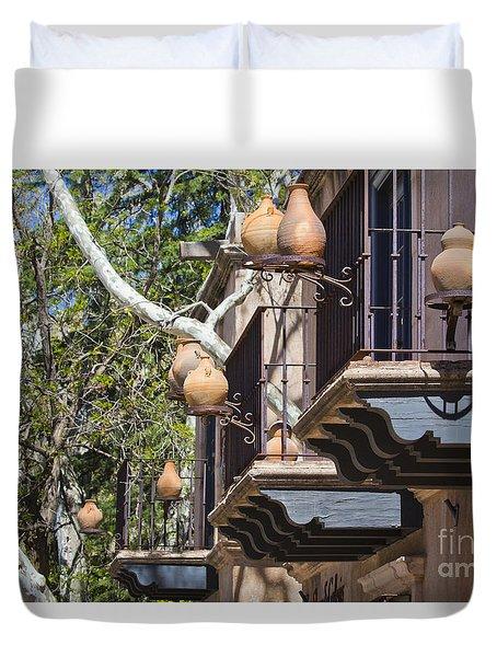 Duvet Cover featuring the photograph Tlaquepaque Balconies by Chris Dutton