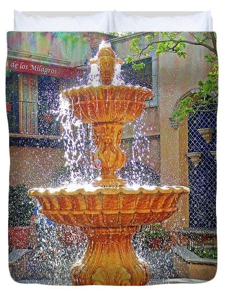 Tlaquepaque Fountain In Sunlight Duvet Cover