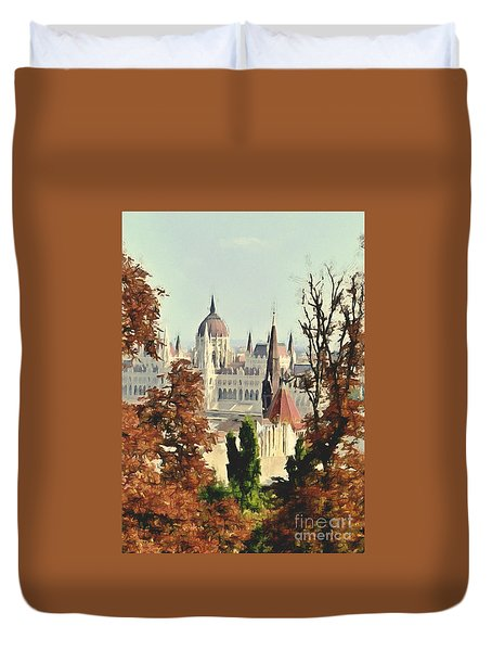 To Budapest With Love Duvet Cover