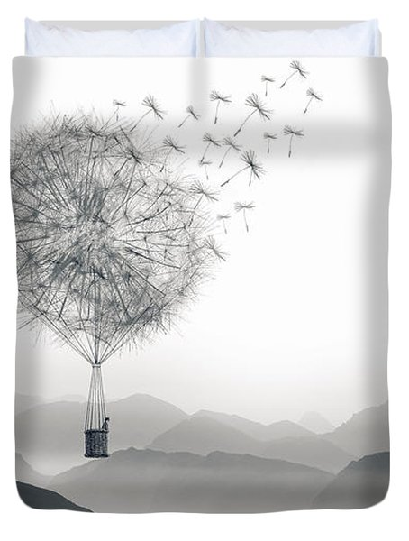 Duvet Cover featuring the digital art To Fly Only For A Moment by ISAW Company