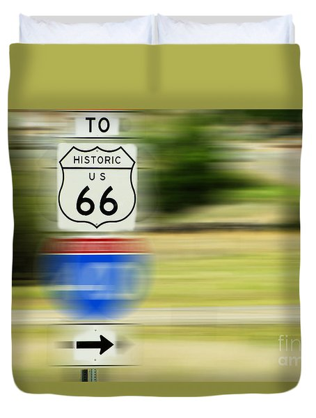 Duvet Cover featuring the photograph To Historic U.s. Route 66 by MaryJane Armstrong