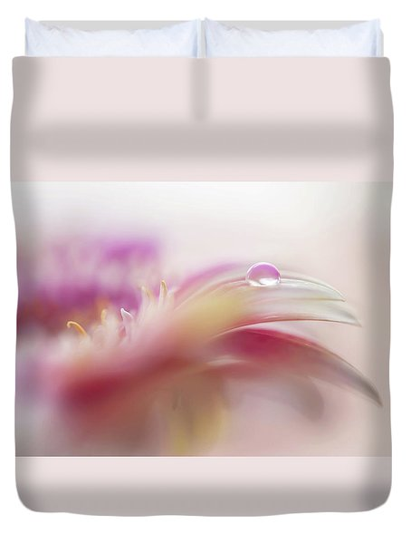 Duvet Cover featuring the photograph To Live In Dream 2. Macro Gerbera by Jenny Rainbow