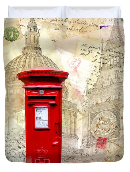 To London By Mail - Classic Post Box Duvet Cover by Mark E Tisdale