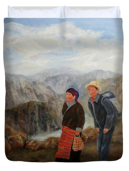 Duvet Cover featuring the painting To Market by Roseann Gilmore