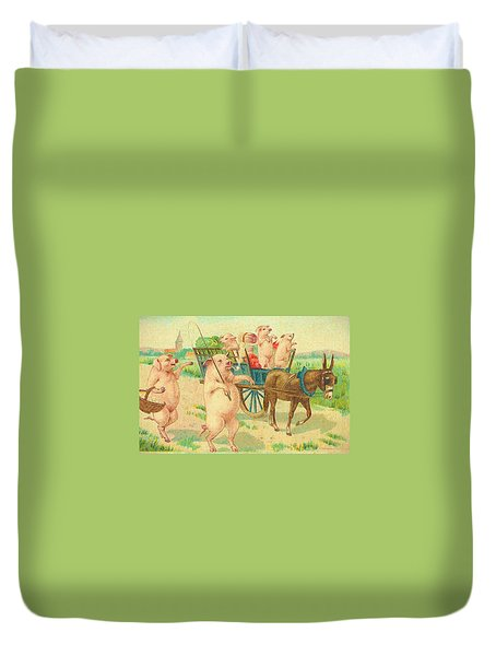 To Market To Market To Buy A Fat Pig 86 - Painting Duvet Cover