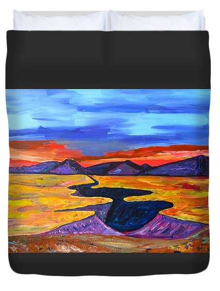 Duvet Cover featuring the painting To Taos At Sunset by Brenda Pressnall