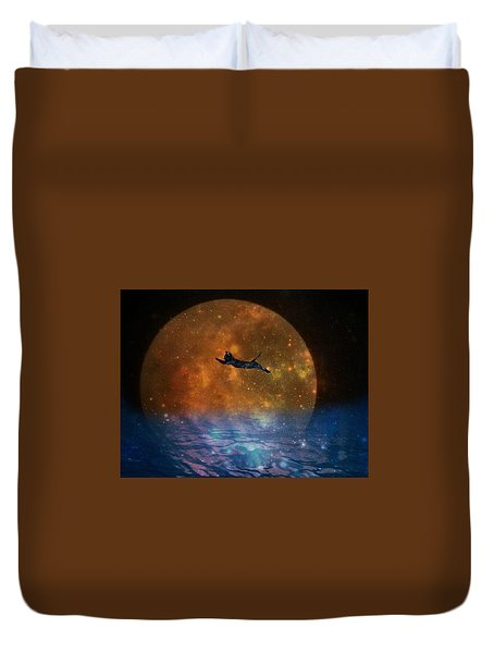 To The Moon And Back Cat Duvet Cover