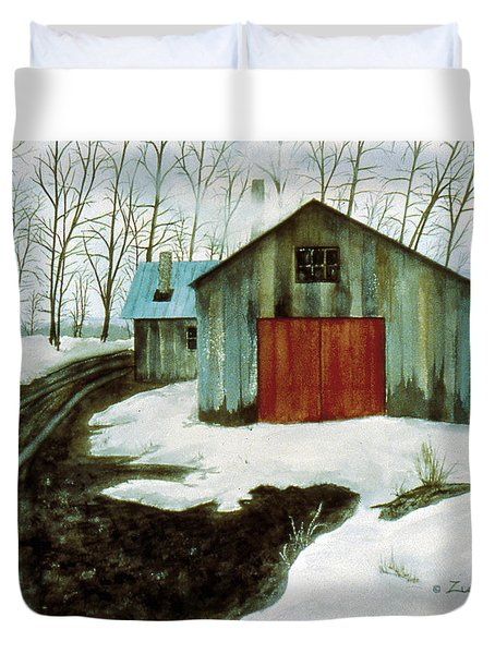 Duvet Cover featuring the painting To The Sugar House by Karen Zuk Rosenblatt