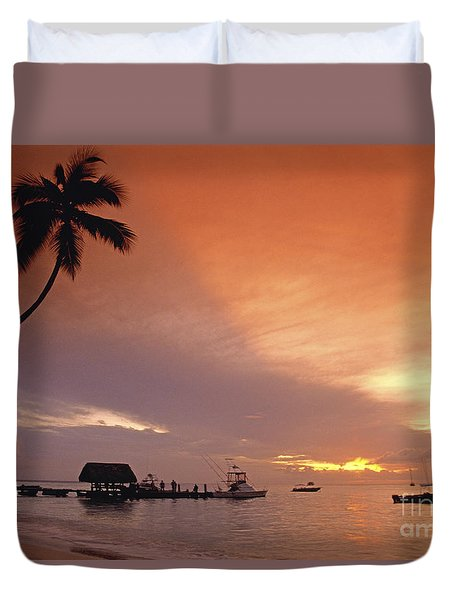 Duvet Cover featuring the photograph Tobago, Pigeon Point Sunset, Caribbean Sea, by Juergen Held