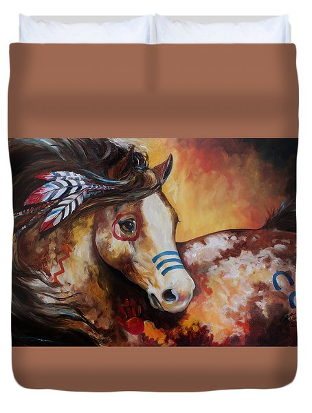 Tobiano Indian War Horse Duvet Cover by Marcia Baldwin