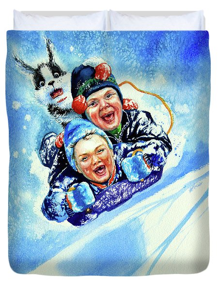 Duvet Cover featuring the painting Toboggan Terrors by Hanne Lore Koehler