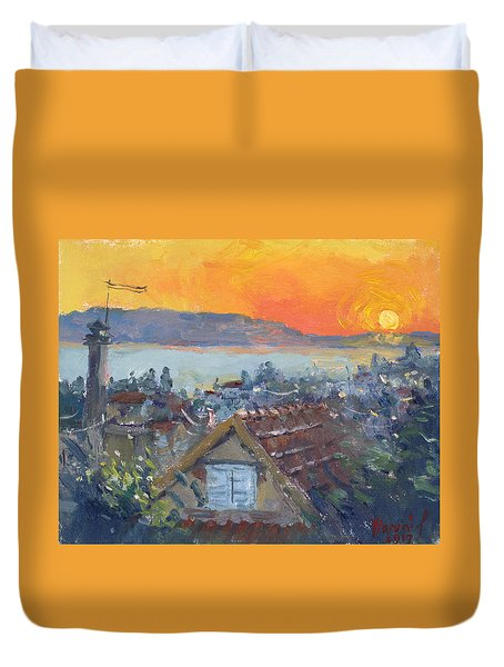 Today Sunrise Over Dilesi Greece Duvet Cover