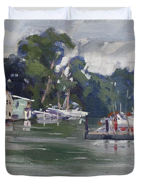 Today's Plein Air Workshop Demonstration At Wardell Boat Yard Duvet Cover