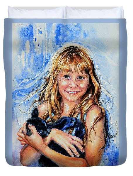Duvet Cover featuring the painting Together Again by Hanne Lore Koehler