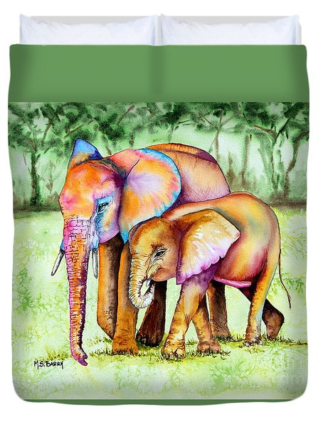 Duvet Cover featuring the painting Together Forever by Maria Barry