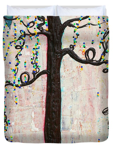 Duvet Cover featuring the mixed media Together Forever by Natalie Briney
