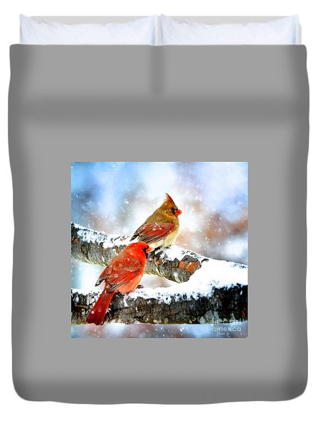 Together In The Snow Duvet Cover