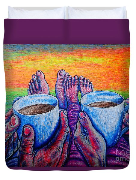 Duvet Cover featuring the painting Together by Viktor Lazarev