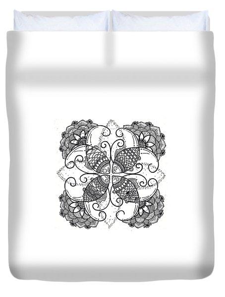 Together We Flourish - Ink Duvet Cover