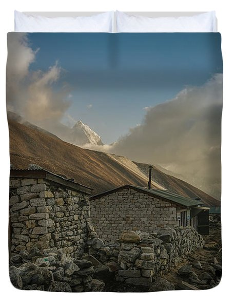 Duvet Cover featuring the photograph Toilet by Mike Reid