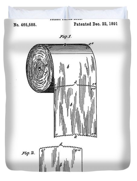 Toilet Paper Roll Patent 1891 White Duvet Cover
